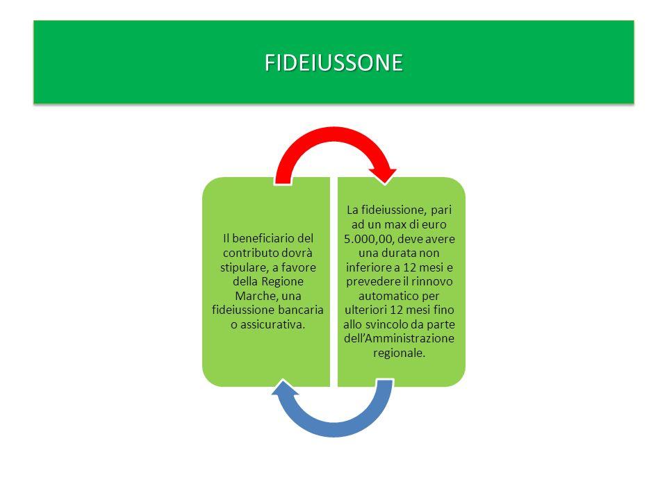 Il beneficiario del contributo dovrà stipulare, a favore della Regione Marche, una fideiussione bancaria o assicurativa.