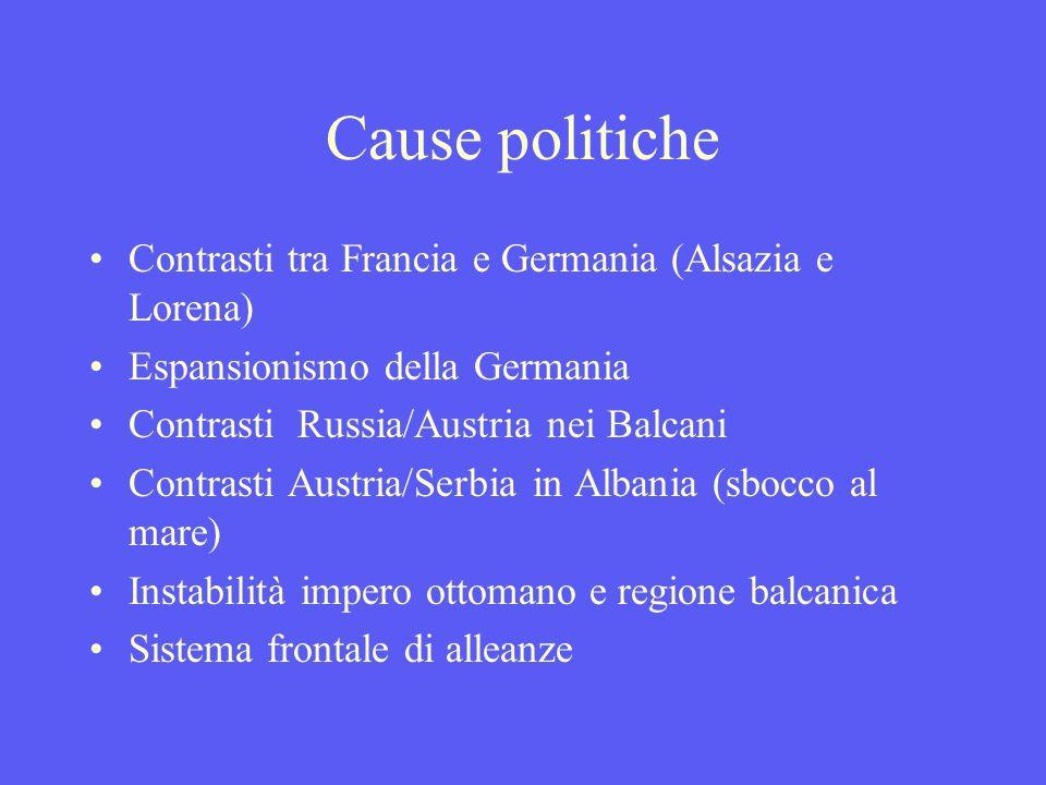 Cause politiche Contrasti tra Francia e Germania (Alsazia e Lorena) Espansionismo della Germania Contrasti Russia/Austria nei Balcani Contrasti Austria/Serbia in Albania (sbocco al mare) Instabilità impero ottomano e regione balcanica Sistema frontale di alleanze
