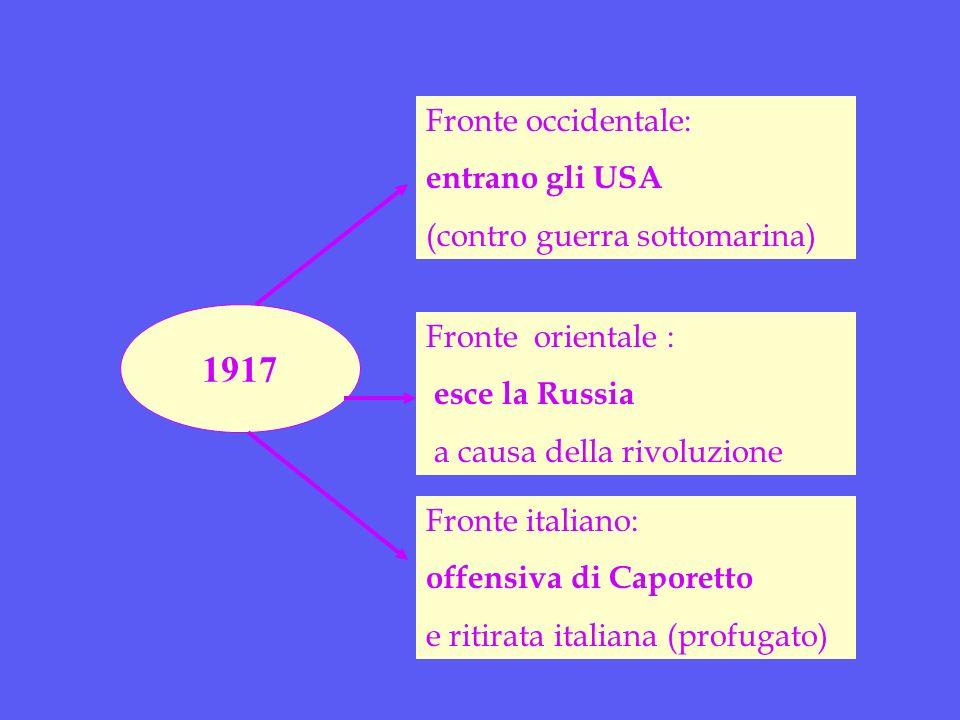 1917 Fronte occidentale: entrano gli USA (contro guerra sottomarina) Fronte italiano: offensiva di Caporetto e ritirata italiana (profugato) Fronte orientale : esce la Russia a causa della rivoluzione