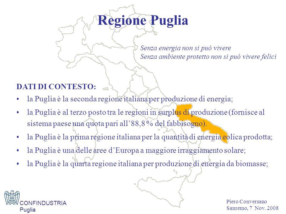DATI DI CONTESTO: la Puglia è la seconda regione italiana per produzione di energia; la Puglia è al terzo posto tra le regioni in surplus di produzione (fornisce al sistema paese una quota pari all88,8 % del fabbisogno).