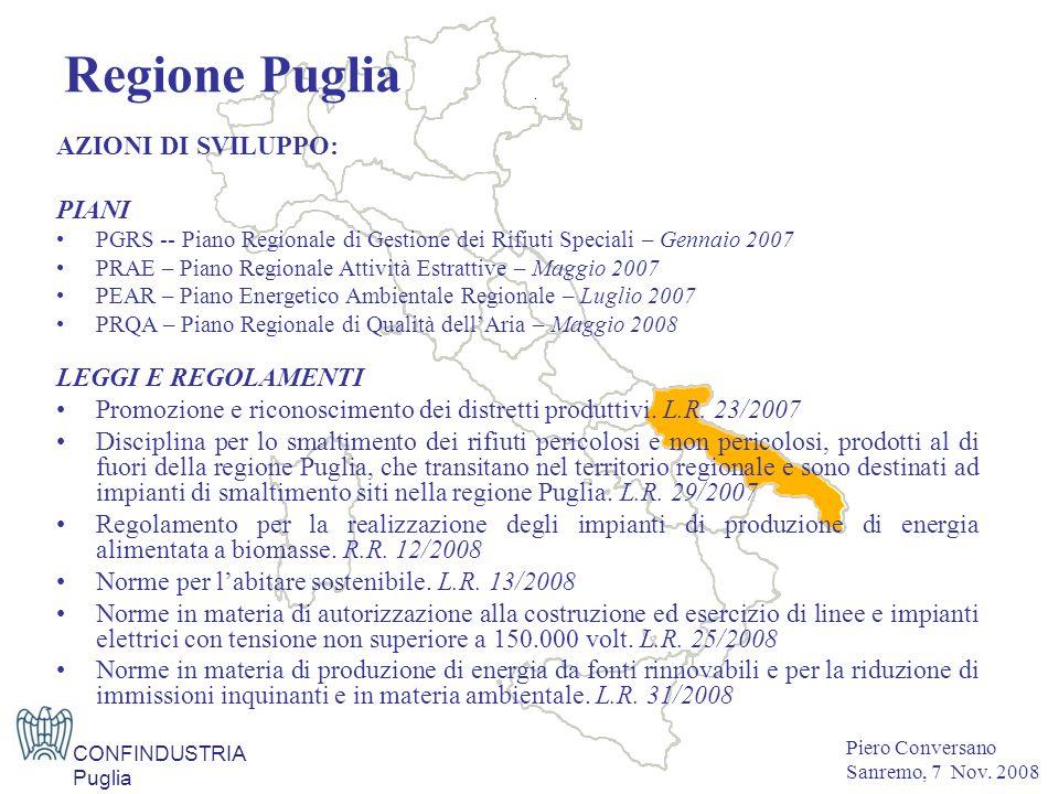 AZIONI DI SVILUPPO: PIANI PGRS -- Piano Regionale di Gestione dei Rifiuti Speciali – Gennaio 2007PGRS -- Piano Regionale di Gestione dei Rifiuti Speciali – Gennaio 2007 PRAE – Piano Regionale Attività Estrattive – Maggio 2007PRAE – Piano Regionale Attività Estrattive – Maggio 2007 PEAR – Piano Energetico Ambientale Regionale – Luglio 2007PEAR – Piano Energetico Ambientale Regionale – Luglio 2007 PRQA – Piano Regionale di Qualità dellAria – Maggio 2008PRQA – Piano Regionale di Qualità dellAria – Maggio 2008 LEGGI E REGOLAMENTI Promozione e riconoscimento dei distretti produttivi.