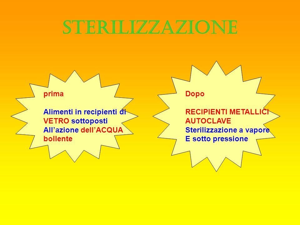 STERILIZZAZIONE prima Alimenti in recipienti di VETRO sottoposti Allazione dellACQUA bollente Dopo RECIPIENTI METALLICI AUTOCLAVE Sterilizzazione a va
