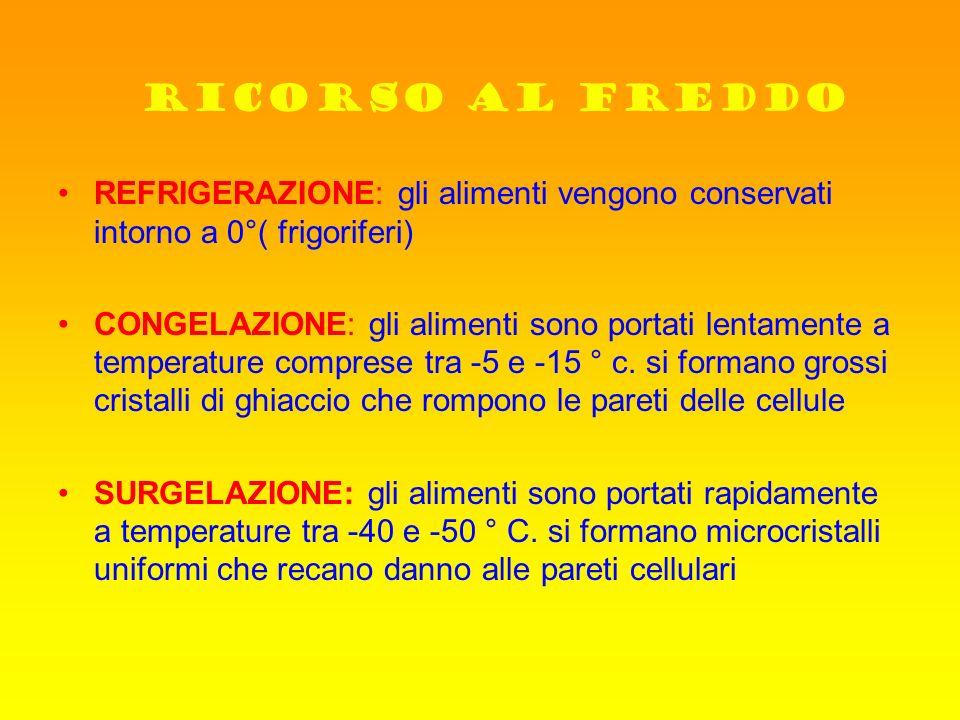 RICORSO AL FREDDO REFRIGERAZIONE: gli alimenti vengono conservati intorno a 0°( frigoriferi) CONGELAZIONE: gli alimenti sono portati lentamente a temp