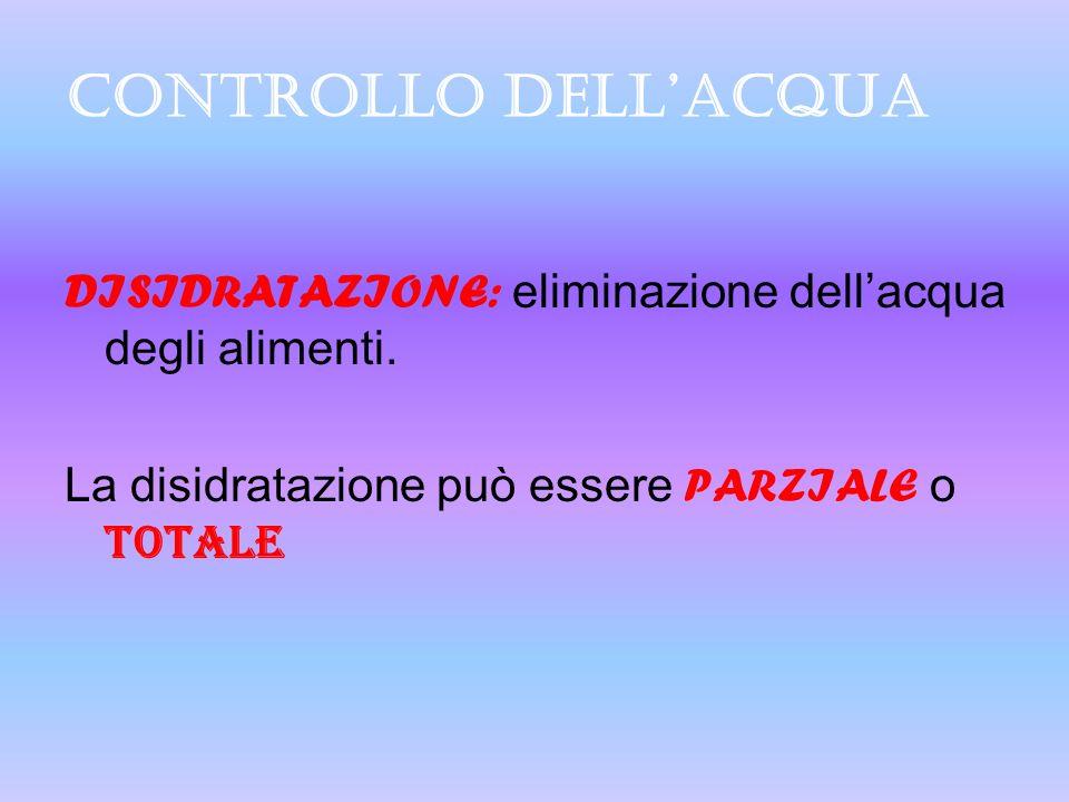 CONTROLLO DELLACQUA DISIDRATAZIONE: eliminazione dellacqua degli alimenti. La disidratazione può essere P ARZIALE o TOTALE