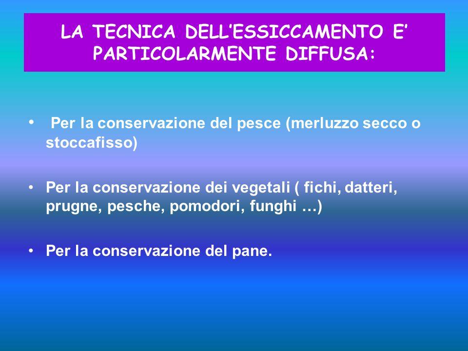 Per la conservazione del pesce (merluzzo secco o stoccafisso) Per la conservazione dei vegetali ( fichi, datteri, prugne, pesche, pomodori, funghi …)