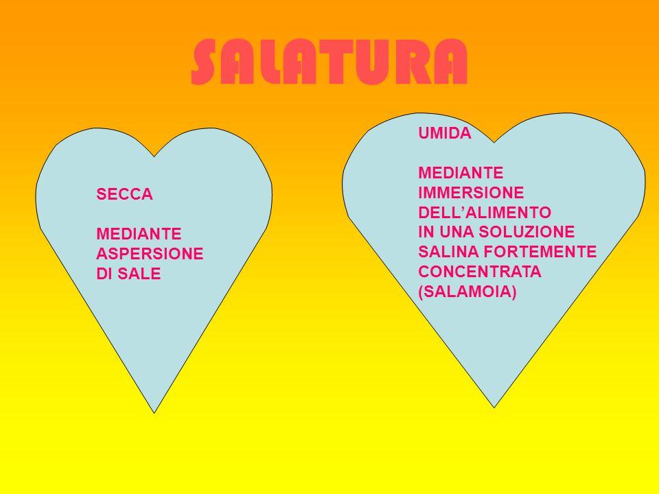 SALATURA SECCA MEDIANTE ASPERSIONE DI SALE UMIDA MEDIANTE IMMERSIONE DELLALIMENTO IN UNA SOLUZIONE SALINA FORTEMENTE CONCENTRATA (SALAMOIA)