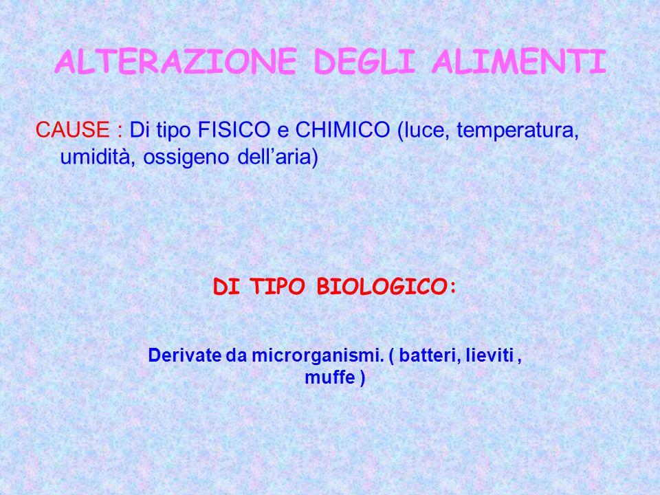 ALTERAZIONE DEGLI ALIMENTI CAUSE : Di tipo FISICO e CHIMICO (luce, temperatura, umidità, ossigeno dellaria) DI TIPO BIOLOGICO: Derivate da microrganis