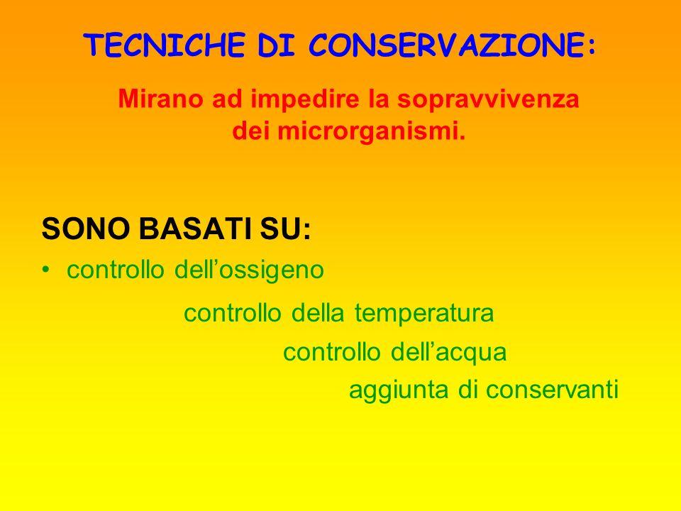 TECNICHE DI CONSERVAZIONE: SONO BASATI SU: controllo dellossigeno controllo della temperatura controllo dellacqua aggiunta di conservanti Mirano ad im