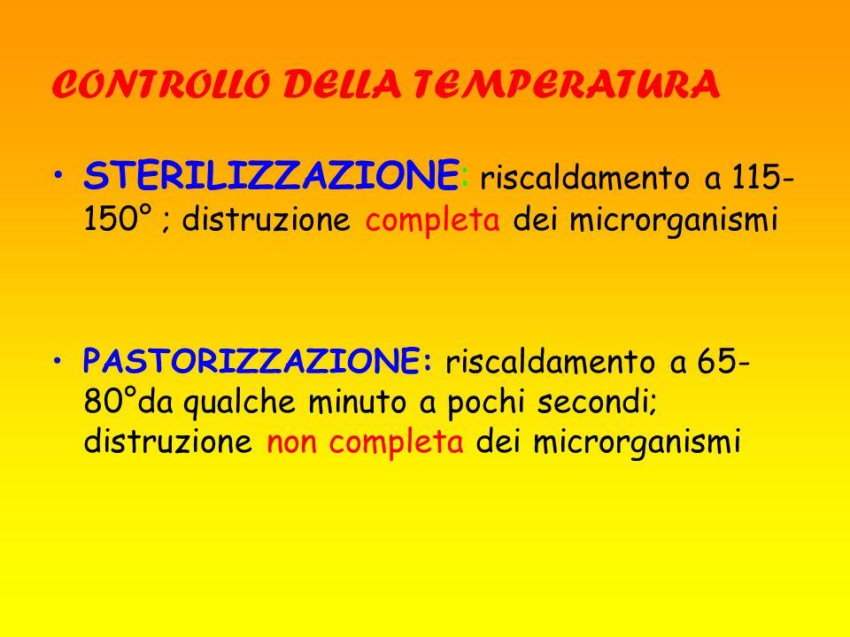 CONTROLLO DELLA TEMPERATURA STERILIZZAZIONE: riscaldamento a 115- 150° ; distruzione completa dei microrganismi PASTORIZZAZIONE: riscaldamento a 65- 8