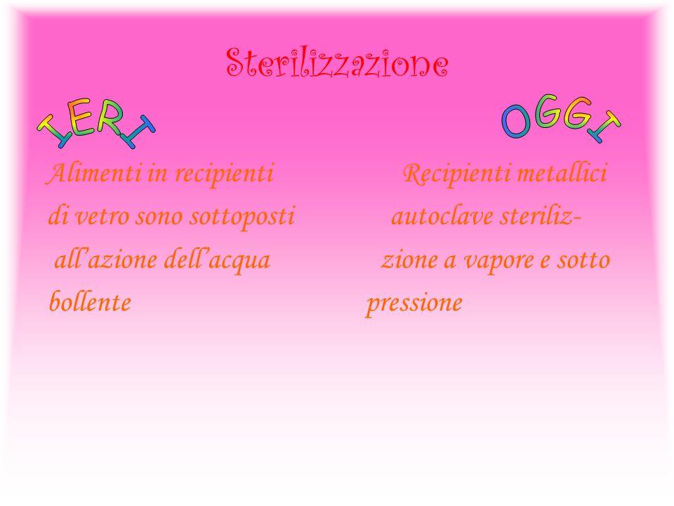 Sterilizzazione Alimenti in recipienti Recipienti metallici di vetro sono sottoposti autoclave steriliz- allazione dellacqua zione a vapore e sotto bo