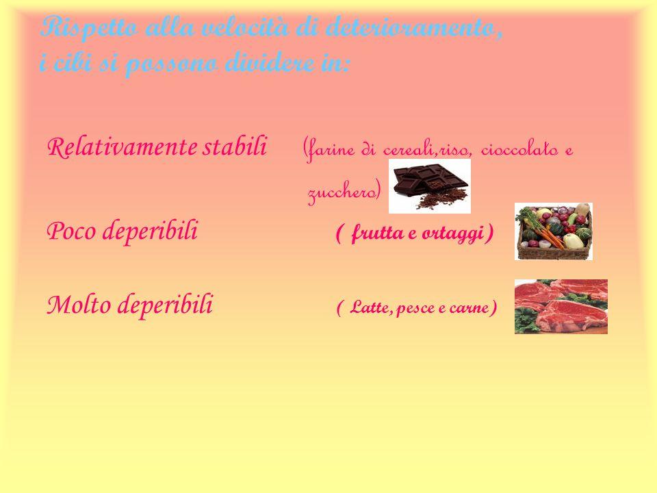 Rispetto alla velocità di deterioramento, i cibi si possono dividere in: Relativamente stabili (farine di cereali,riso, cioccolato e zucchero) Poco de