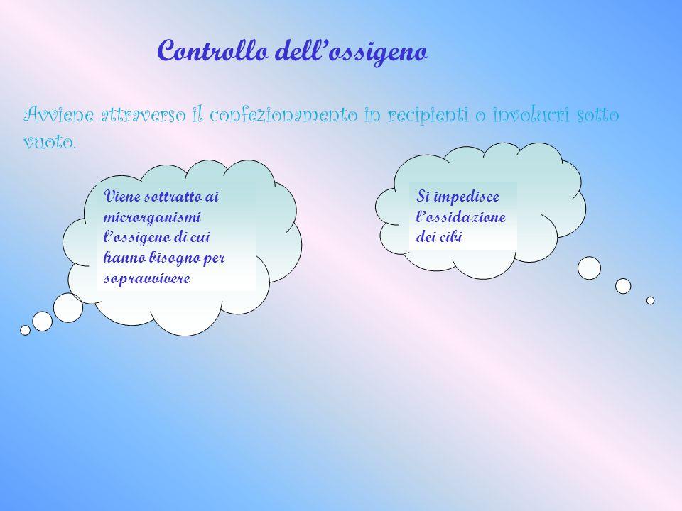 Controllo dellossigeno Avviene attraverso il confezionamento in recipienti o involucri sotto vuoto. Viene sottratto ai microrganismi lossigeno di cui