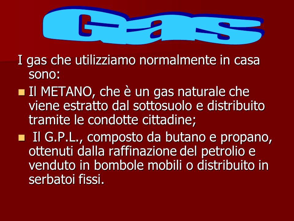 I gas che utilizziamo normalmente in casa sono: Il METANO, che è un gas naturale che viene estratto dal sottosuolo e distribuito tramite le condotte c