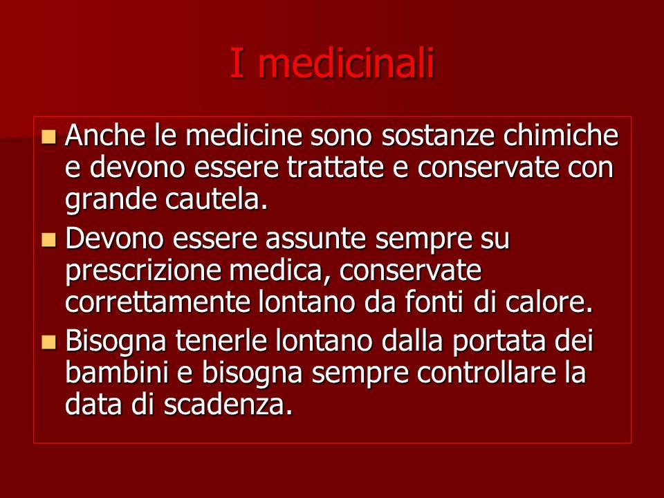 I medicinali Anche le medicine sono sostanze chimiche e devono essere trattate e conservate con grande cautela. Anche le medicine sono sostanze chimic
