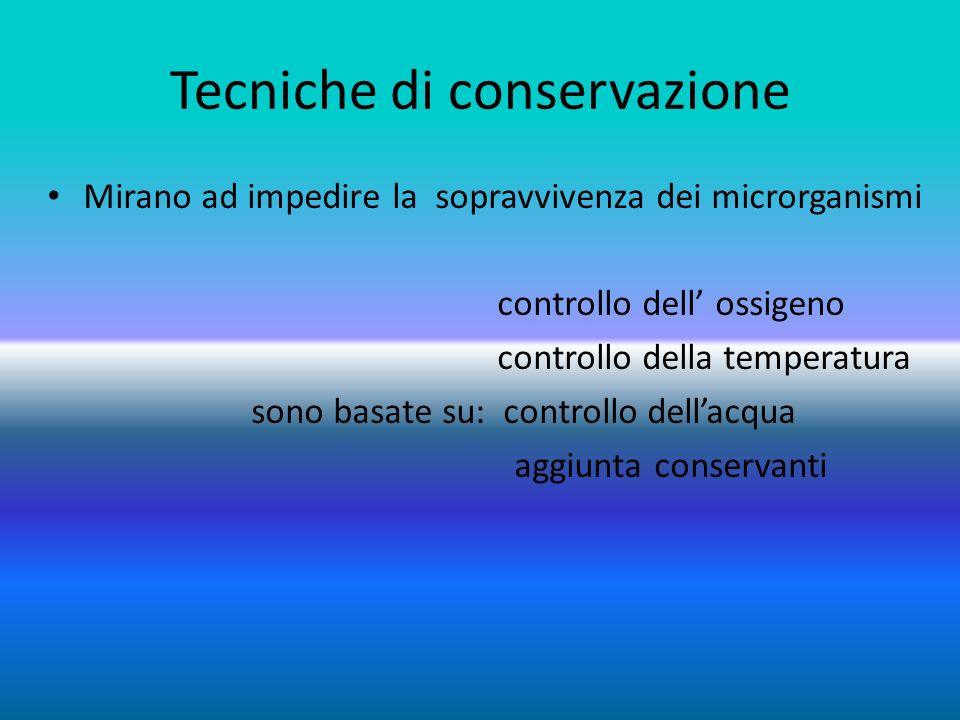 Controllo dellossigeno Avviene attraverso il confezionamento in recipienti o involucri sottovuoto Viene sottratto ai microrganismi lossigeno di cui hanno bisogno per sopravvivere Si impedisce lossidazione dei cibi