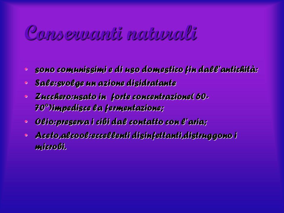 Conservanti naturali sono comunissimi e di uso domestico fin dallantichità:sono comunissimi e di uso domestico fin dallantichità: Sale:svolge un azion
