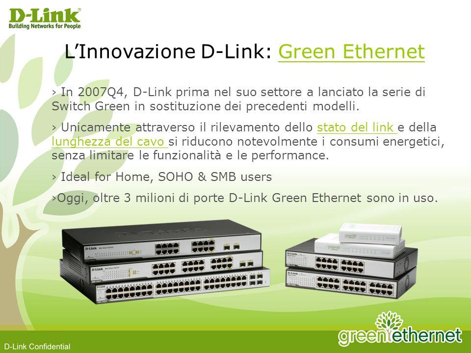 In 2007Q4, D-Link prima nel suo settore a lanciato la serie di Switch Green in sostituzione dei precedenti modelli. Unicamente attraverso il rilevamen