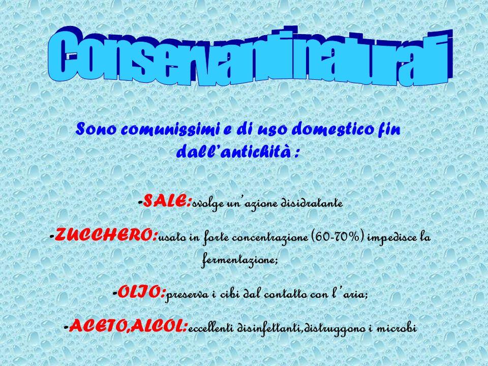 Sono comunissimi e di uso domestico fin dallantichità : -SALE: svolge unazione disidratante -ZUCCHERO: usato in forte concentrazione (60-70%) impedisc