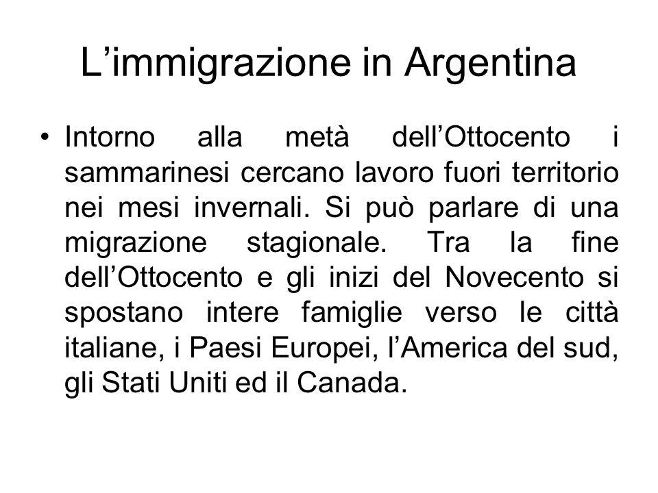 Limmigrazione in Argentina Intorno alla metà dellOttocento i sammarinesi cercano lavoro fuori territorio nei mesi invernali. Si può parlare di una mig