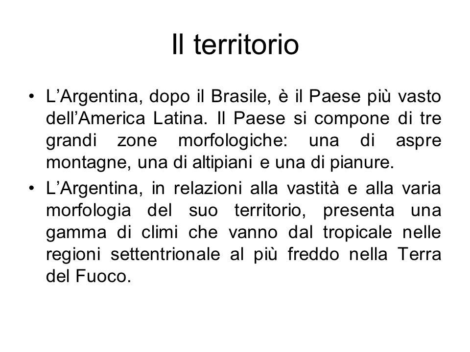 Il territorio LArgentina, dopo il Brasile, è il Paese più vasto dellAmerica Latina. Il Paese si compone di tre grandi zone morfologiche: una di aspre