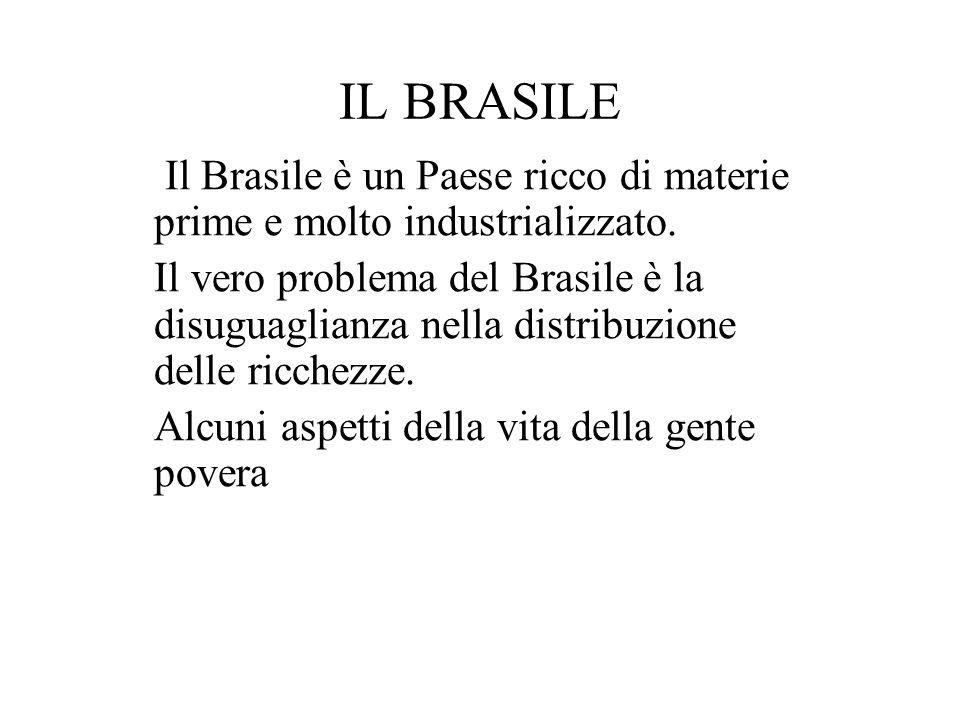 IL BRASILE Il Brasile è un Paese ricco di materie prime e molto industrializzato. Il vero problema del Brasile è la disuguaglianza nella distribuzione