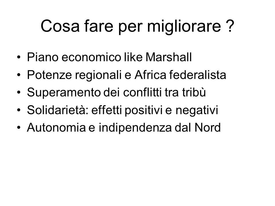 Cosa fare per migliorare ? Piano economico like Marshall Potenze regionali e Africa federalista Superamento dei conflitti tra tribù Solidarietà: effet