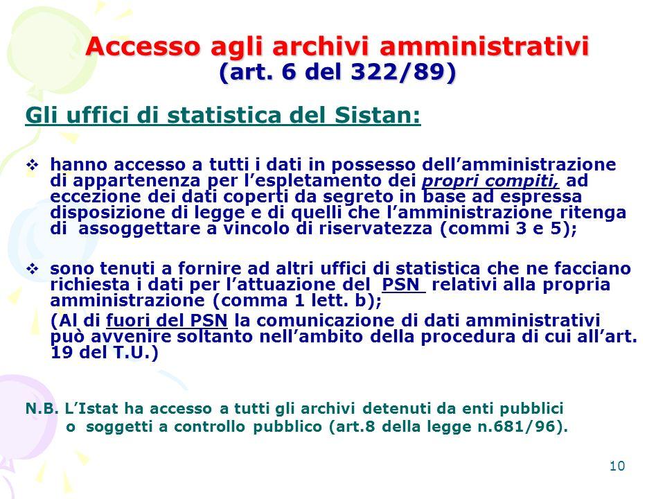 10 Accesso agli archivi amministrativi (art.