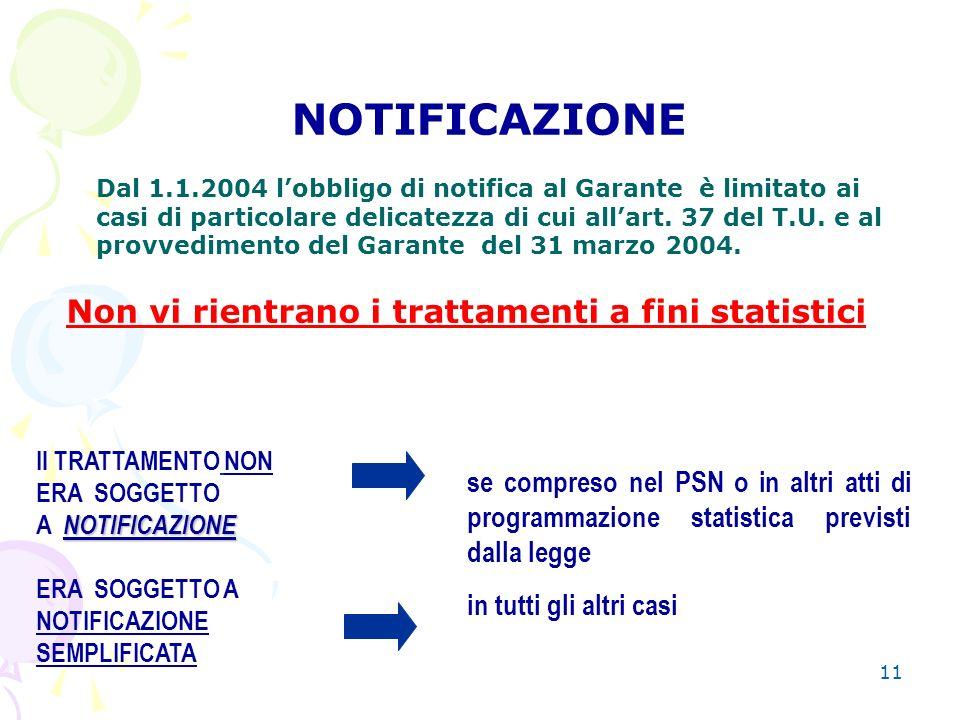 11 NOTIFICAZIONE Dal 1.1.2004 lobbligo di notifica al Garante è limitato ai casi di particolare delicatezza di cui allart.
