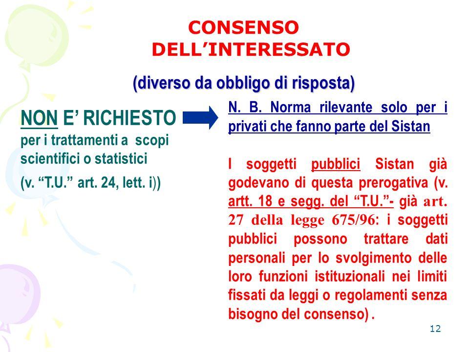 12 CONSENSO DELLINTERESSATO (diverso da obbligo di risposta) NON E RICHIESTO per i trattamenti a scopi scientifici o statistici (v.