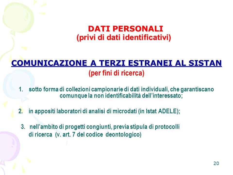 20 DATI PERSONALI (privi di dati identificativi) DATI PERSONALI (privi di dati identificativi) COMUNICAZIONE A TERZI ESTRANEI AL SISTAN (per fini di ricerca) 1.