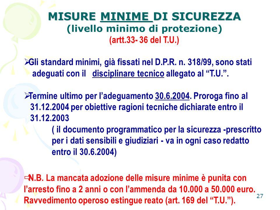 27 MISURE MINIME DI SICUREZZA (livello minimo di protezione) (artt.33- 36 del T.U.) Gli standard minimi, già fissati nel D.P.R.