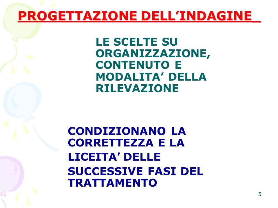 5 PROGETTAZIONE DELLINDAGINE_ LE SCELTE SU ORGANIZZAZIONE, CONTENUTO E MODALITA DELLA RILEVAZIONE CONDIZIONANO LA CORRETTEZZA E LA LICEITADELLE SUCCESSIVE FASI DEL TRATTAMENTO