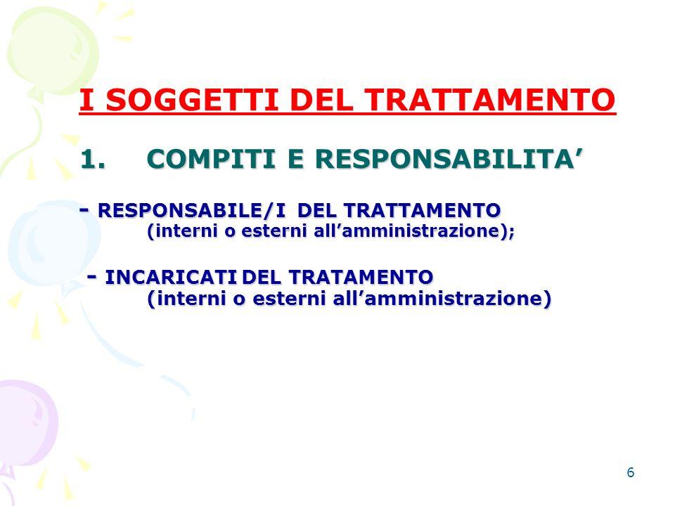 6 1. COMPITI E RESPONSABILITA - RESPONSABILE/I DEL TRATTAMENTO (interni o esterni allamministrazione); - INCARICATI DEL TRATAMENTO (interni o esterni