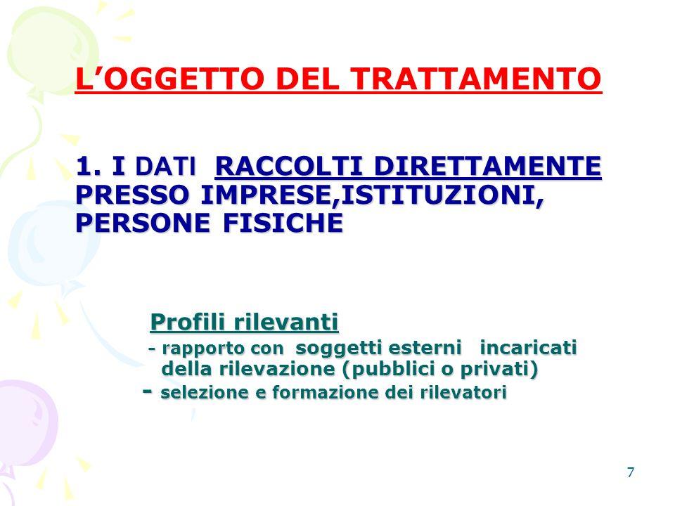 8 (segue) 2.I DATI IN PRECEDENZA RACCOLTI PER ALTRI SCOPI 2.