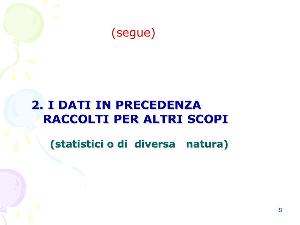 8 (segue) 2. I DATI IN PRECEDENZA RACCOLTI PER ALTRI SCOPI 2.