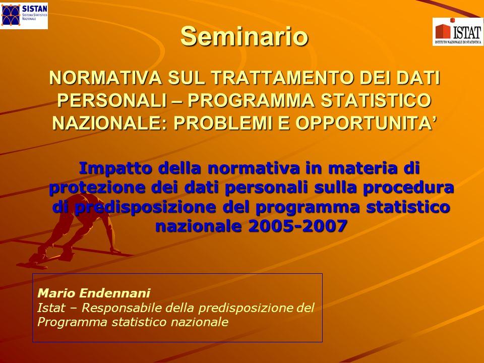 Seminario NORMATIVA SUL TRATTAMENTO DEI DATI PERSONALI – PROGRAMMA STATISTICO NAZIONALE: PROBLEMI E OPPORTUNITA Impatto della normativa in materia di