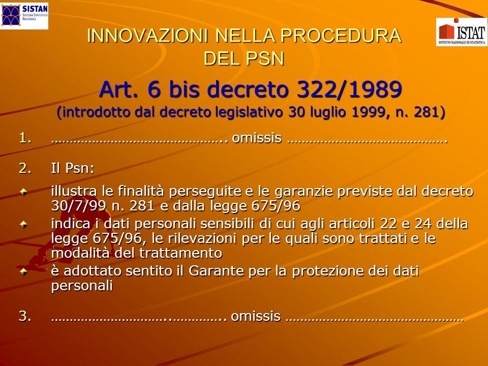 INNOVAZIONI NELLA PROCEDURA DEL PSN Art. 6 bis decreto 322/1989 (introdotto dal decreto legislativo 30 luglio 1999, n. 281) 1.……………………………………….. omissi