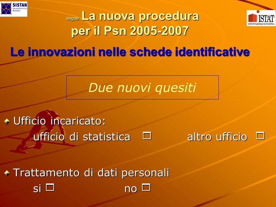 segue: La nuova procedura per il Psn 2005-2007 Le innovazioni nelle schede identificative Ufficio incaricato: ufficio di statistica altro ufficio ufficio di statistica altro ufficio Trattamento di dati personali si no si no Due nuovi quesiti