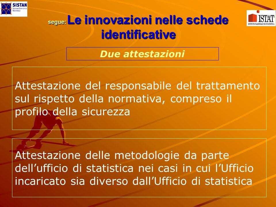 segue: Le innovazioni nelle schede identificative segue: Le innovazioni nelle schede identificative Attestazione del responsabile del trattamento sul
