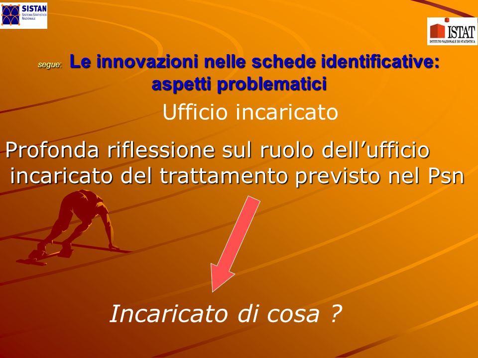 segue: Le innovazioni nelle schede identificative: aspetti problematici Profonda riflessione sul ruolo dellufficio incaricato del trattamento previsto