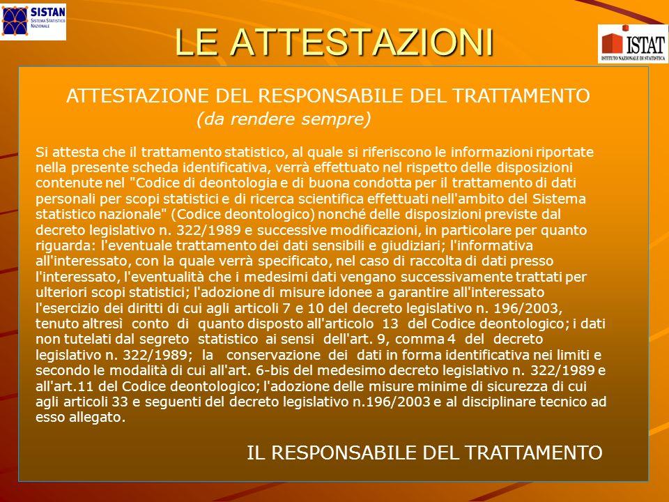 LE ATTESTAZIONI ATTESTAZIONE DEL RESPONSABILE DEL TRATTAMENTO (da rendere sempre) IL RESPONSABILE DEL TRATTAMENTO Si attesta che il trattamento statis