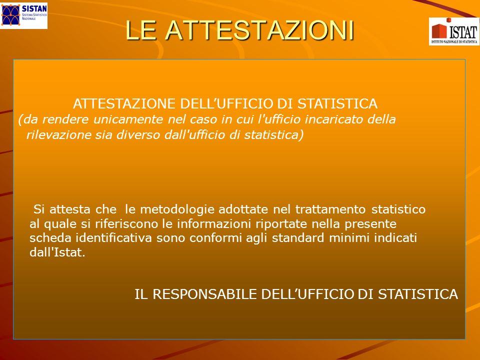 LE ATTESTAZIONI ATTESTAZIONE DELLUFFICIO DI STATISTICA (da rendere unicamente nel caso in cui l'ufficio incaricato della rilevazione sia diverso dall'