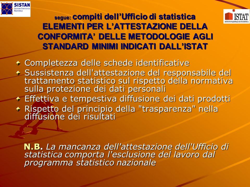 segue: compiti dellUfficio di statistica ELEMENTI PER LATTESTAZIONE DELLA CONFORMITA DELLE METODOLOGIE AGLI STANDARD MINIMI INDICATI DALLISTAT Complet