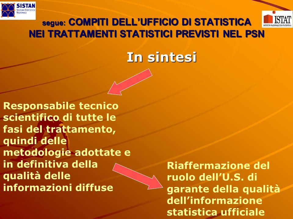 segue: COMPITI DELLUFFICIO DI STATISTICA NEI TRATTAMENTI STATISTICI PREVISTI NEL PSN In sintesi Responsabile tecnico scientifico di tutte le fasi del