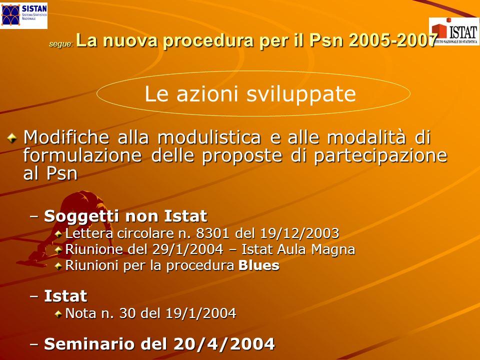 segue: La nuova procedura per il Psn 2005-2007 segue: La nuova procedura per il Psn 2005-2007 Modifiche alla modulistica e alle modalità di formulazione delle proposte di partecipazione al Psn –Soggetti non Istat Lettera circolare n.
