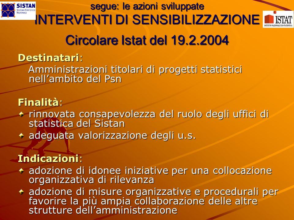 segue: le azioni sviluppate INTERVENTI DI SENSIBILIZZAZIONE Circolare Istat del 19.2.2004 Destinatari: Amministrazioni titolari di progetti statistici