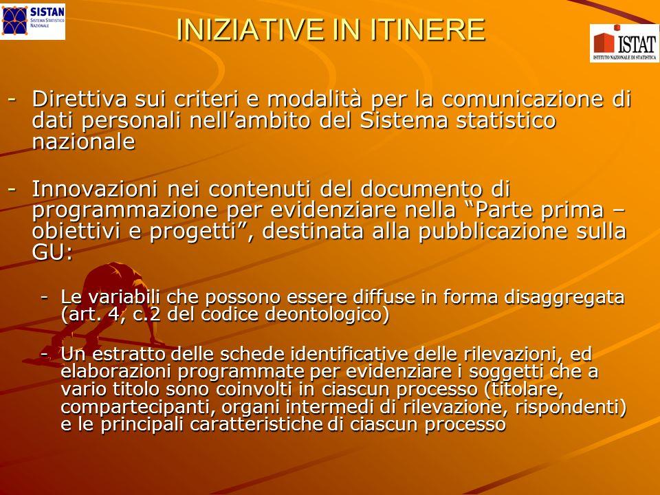 INIZIATIVE IN ITINERE -Direttiva sui criteri e modalità per la comunicazione di dati personali nellambito del Sistema statistico nazionale -Innovazion