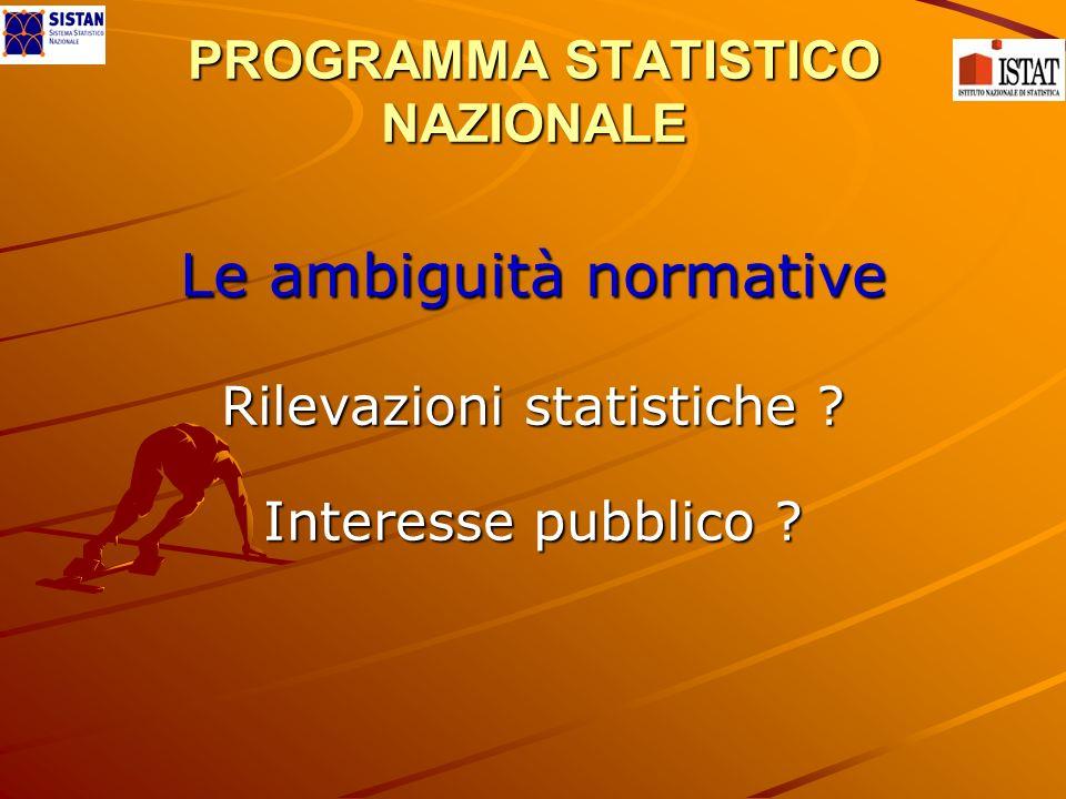 PROGRAMMA STATISTICO NAZIONALE Le ambiguità normative Rilevazioni statistiche ? Interesse pubblico ?