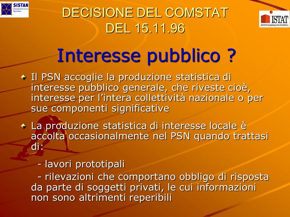 DECISIONE DEL COMSTAT DEL 15.11.96 Interesse pubblico ? Il PSN accoglie la produzione statistica di interesse pubblico generale, che riveste cioè, int