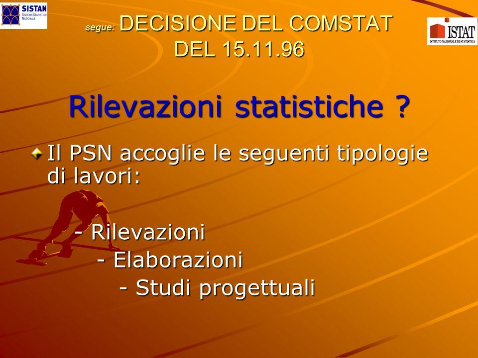 segue: DECISIONE DEL COMSTAT DEL 15.11.96 Rilevazioni statistiche ? Il PSN accoglie le seguenti tipologie di lavori: - Rilevazioni - Rilevazioni - Ela